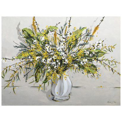 Wattle, Blossom and Loquat Branches in Water Jug